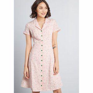 Modcloth Pink Gingham Daisy Print Shirt Dress 14